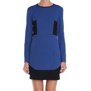 TIBI | Blue Houndstooth Sheath Dress